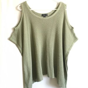 [ONE A] COLD SHOULDER LIGHT GREEN PULLOVER BLOUSE